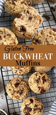 These Gluten Free Buckwheat Muffins are moist, fluffy and perfect as a healthy breakfast, side, or snack. They are egg free, dairy free and can easily be made nut free; perfect great for kids with common allergens. These muffins are not super sweet, but you can always add a little extra maple syrup or more chocolate chips. #healthysnacks #breakfastideas #glutenfree Buckwheat Muffins, Vegan Muffins, Gluten Free Muffins, Gluten Free Snacks, Gluten Free Breakfasts, Healthy Muffins, Healthy Muffin Recipes, Paleo Recipes, Snack Recipes