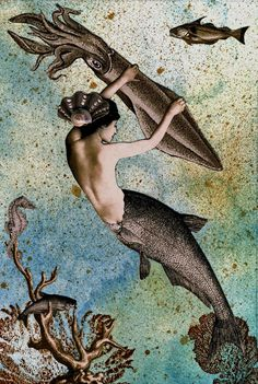 """Aquamarina and her cuttlefish companion, Fernando, like to jet about the briny deep in search of adventure and new friends.  This collage of Aquamarina and Fernando, off for a jaunt has been constructed of painstakingly hand cut and assembled vintage images on 140 lb. handpainted watercolor paper and is accented with stamped coral, walnut ink and a real seashell. It is intended as a companion piece to """"Octopus's House, Undersea"""".  This original artwork and story are copyright Ramona Szczerba…"""