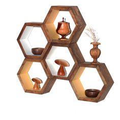 Shelves - Wood Floating Honeycombs - Modern Geometric Home Decor - Organizational Dislpay Shelving - Set of 5