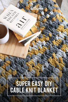 Make a gorgeous cable knit blanket with looping yarn (it's so easy!) - It's Always Autumn It's super easy to make this pretty cable knit blanket using loop yarn! You can finger knit without needles or any knitt. Sewing Basics, Sewing Hacks, Sewing Tutorials, Sewing Classes For Beginners, Knitting For Beginners, Yarn Projects, Sewing Projects, Finger Knitting Projects, Hand Knitting