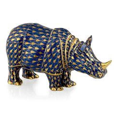 Herend Rhinoceros, Cobalt & Gold