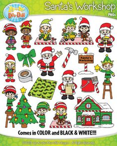 Santa's Workshop Clipart Set  Includes 40 Graphics!You will receive 40 clipart graphics that were hand drawn by myself  20 Colored Graphics and 20 B/W Outlined Graphics. Plus all graphics come in color and black/white outlines! Please see the list below and all preview images for details.The graphics are high resolution (300 DPI) which means you to enlarge them without causing pixelation.