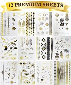 12 Premium Sheets - Metallic Flash Temporary Tattoos - Gold and Silver Bling >>> To view further for this item, visit the image link.