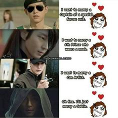 "Fine i""l marry both con man nd goblin Korean Drama Funny, Korean Drama Quotes, Korean Drama Movies, Korean Actors, Korean Dramas, K Meme, Funny Memes, Goblin Kdrama, Drama Fever"