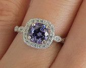 1.25 Carat Round Cut, Halo Ring, Art Deco, Man Made Tanzanite & Diamond Simulants, Engagement Ring, Wedding Ring, Bridal. Sterling Silver