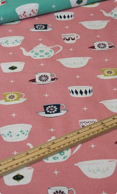 Teacups and Teapots in Antique Rose - Cotton Linen Blend   http://www.clothkits.co.uk/teacups-teapots-antique-rose-cotton-linen-blend-p-1417.html