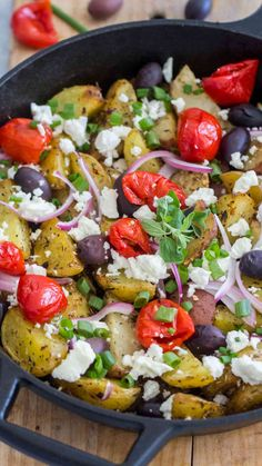 Oven Baked Greek Potatoes are one of the easiest and tastiest side dishes that can pass as an appetizer too. Loaded with kalamata olives, capers and feta!