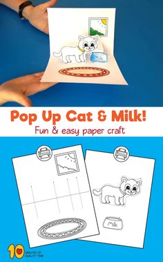 Pop up cat & milk - paper craft #preschool #kidsprintables#animalcrafts