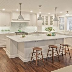 Inset cabinetry elegance by own Kathleen Fredrich …. Take notes on the incre… Inset cabinetry elegance by own Kathleen Fredrich …. Take notes on the incredible island design, appliance placement, and custom hood! Diy Kitchen Cabinets, Kitchen Cabinet Design, Kitchen Redo, Home Decor Kitchen, Kitchen Living, Kitchen Interior, Home Kitchens, Modern Kitchen Design, Modern Kitchen White Cabinets