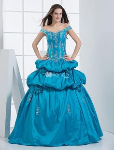 Ball Gown Off-The-Shoulder V-Neck Beading Embroidery Taffeta Ball Gown Dress. Get a celebrity look for less with this stunning off the shoulder royal blue ball gown dress. Soft and sleek taffeta will give your skin intimate care and look beautiful. Perfect for homecoming, prom, or any formal occasion.. . See More V-Neck at http://www.ourgreatshop.com/V-Neck-C948.aspx
