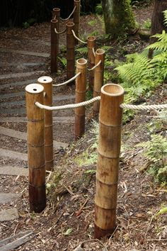 Bamboo side railings with rope, another balustrade idea.
