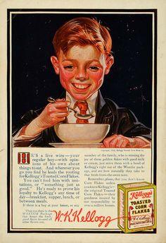 1915 Ad - W.K. Kellogg's Signature Toasted Corn Flakes Cereal