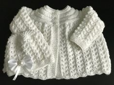 Hand Knitted White Matinee Cardigan and Matching Hat, Fits 0 - 3 months £10.99