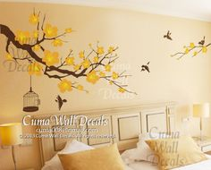 Nursery Wall Decal Cherry Blossom Tree Birds Wall Decals Flower Vinyl Wall  Decals Birdcage Wall Mural Ideas