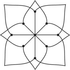 Simple Kolam--A Kolam is a geometrical line drawing composed of curved loops, drawn around a grid pattern of dots.