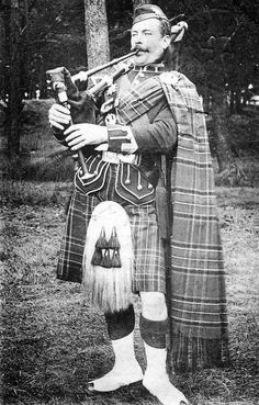 Old photograph of a Black Watch Piper from Pitlochry, Perthshire, Scotland