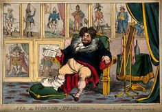 The gouty George IV relaxing before nine portraits chronicli Wellcome - William Heath. A satirical publication, later known as The Northern Looking Glass, it lampooned the fashions and politics of the times