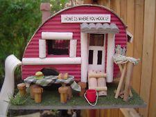 retro airstream camping TRAILER RV park camper fairy garden Bird house birdhouse