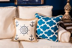 Add nautical flair to your decor with stenciled pillow covers!  1) Iron…