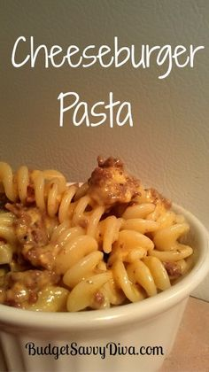 Cheeseburger Pasta - 1 pound of pasta cooked – penne or similar, 1 pound of ground beef, 3/4 cup of milk, 1/2 teaspoon of garlic powder, 2 cups of cheddar cheese, 1 teaspoon of pepper, 1/2 teaspoon of salt, 1/4 cup of Parmesan cheese. Brown beef – Add salt and pepper. Drain fat.  In a medium sauce pan – over medium- low heat add milk and cheese – mix till cheese is melted. Add Parmesan cheese and mix.  Add cheese sauce to beef and mix.  Add cooked pasta to skillet and mix well.