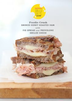 National Grilled Cheese Month Week 2: Smoked Ham with Fig Spread and Provolone Grilled Cheese Sandwich from foodiecrush.com