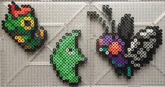 Caterpie Family - Pokemon perler beads by TehMorrison on DeviantArt Hama Beads Pokemon, Pearler Beads, Fuse Beads, Kandi Patterns, Perler Patterns, Beading Patterns, Perler Bead Templates, Iron Beads, Melting Beads