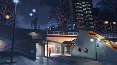 50:09:11 地下通路終点 第3話、深夜、駅から歩いている貴樹が地下通路から出て来るシーン。 この辺りから見た風景。