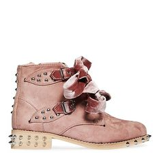Rocco Bow Studded Detail Biker Boot In Blush Faux Suede