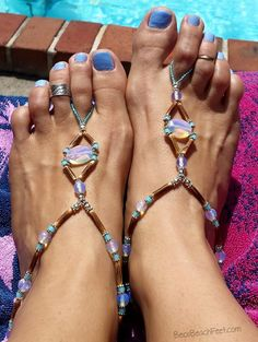 Beach or cruise barefoot sandals ✿ Bec's Summer Dream ✿ Foot Jewelry •  Barefoot Sandals • Anklets • Bracelets