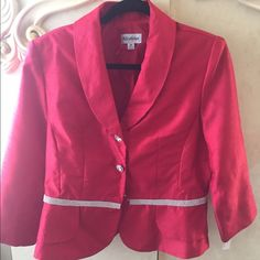 Nicolette 2pc Day into nite suit BRAND NEW with tags. 2pc red suit. Peplum front with rhinestone trim. Evening skirt with silt in back is 35 inches long. MUST HAVE Nicolette Jackets & Coats Blazers