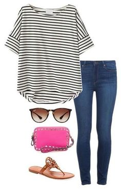 A fashion look from September 2015 featuring striped shirt, blue jeans and tory burch shoes. Browse and shop related looks. Fashion Week Paris, Milan Fashion Weeks, London Fashion, New York Fashion, Teen Fashion, Runway Fashion, Fashion Trends, Fashion 2016, Model Street Style