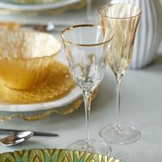 Chic and sophisticated optical gold wine glass.