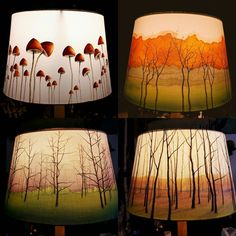 Stunning hand painted lampshade by Carlye Baines. she also makes mushrooms! Stunning hand painted lampshade by Carlye Baines. she also makes mushrooms! Painting Lamp Shades, Painting Lamps, Home Crafts, Diy Home Decor, Handmade Lampshades, Enchanted Wood, Outdoor Light Fixtures, Outdoor Lighting, Paint Furniture