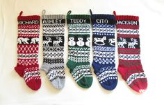 5 Christmas stockings knitted in fair isle pattern