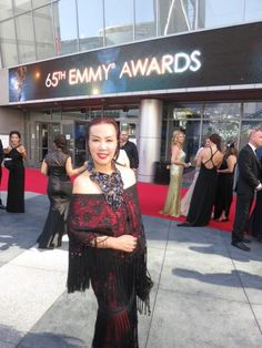 FLASHBACK FRIDAY: Sue Wong at the 65th EMMY AWARDS wearing a fringed ensemble with seutache embroidery and beaded highlights of her own design.  #fbf #flashback #friday #flashbackfriday