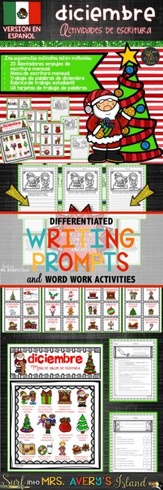 If you are in need of fun Spanish writing prompts and word work activities for your ELL/ESL kids during December, click here to discover the ease of incorporating these no prep printables into your reading and ELA lesson plans.