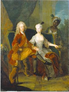 Portrait of the crown prince Friedrich Ludwig of Württemberg and his wife Henriette Marie of Brandenburg Schwedt - Antoine Pesne