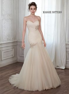 Gorgeous tulle fit and flare wedding dress with ruched bodice, Lacey by Maggie Sottero.