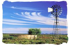 Windmill / Wind Turbine photo of the day. Lonely windmill in the Karoo pumping up precious water from underground in the Karoo National Park, South Africa copyright © South African tourism Farm Windmill, South Africa Tours, Old Windmills, Country Scenes, Water Tower, Old Farm, Le Moulin, Pretty Pictures, New Art