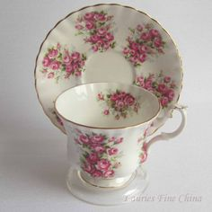 Free Shipping Royal Albert ROSES from the Springtime Series Bone China Tea Cup and Saucer - Made in England by LauriesFineChina on Etsy