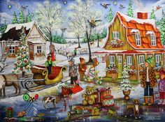 Christine Genest ~ Happiess Is Here Christmas Scenes, Christmas Art, All Things Christmas, Canadian Painters, Canadian Artists, Tole Painting, Painting & Drawing, B Image, Creation Photo