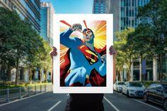Superman: Action Comics Fine Art Print by Sideshow | Sideshow Fine Art Prints Superman Action Comics, Dc Comics, Warm Colour Palette, Warm Colors, Embossed Seal, Brian Michael Bendis, Under The Lights, Sideshow Collectibles, Detective Comics