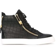 Giuseppe Zanotti Design Zip Detail Hi-Top Sneakers (5 715 SEK) ❤ liked on Polyvore featuring shoes, sneakers, black, high top sneakers, black leather sneakers, black flat shoes, leather shoes and leather sneakers