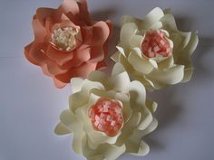 3  Paper Flowers, Peach And Beige Paper Flowers, Medium Flowers, Wedding Wall Decor, Wall Paper Flower, Paper Wedding,Table Centerpiece by ThePurpleDream on Etsy