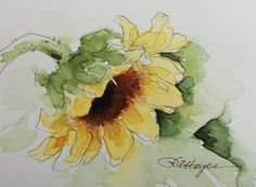 Sunflower Original Watercolor Painting ACEO