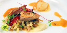 Pan Roasted Quail Breast, Confit Leg and Leek Ragout, Celery Root Puree, Caramelized Cippolini, Yellow Plum Jus