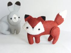 PDF pattern - Woodland creatures - fox, squirrel, wolf, bear, badger and hare. Easy sewing pattern, felt softies, baby crib mobile ornaments