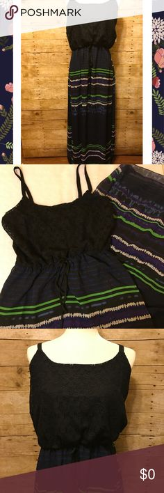 """Allison Brittney NWT maxi dress black lace stripes Allison Brittney - New with tags, Black lace upper spaghetti strap Maxi Dress with black, purple, green, white, and blue stripes in skirt. 43"""" skirt, Adjustable length by placement of elastic waist. Allison Brittney Dresses Maxi"""