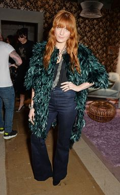 Celebrities at Fashion Week Fall 2015 - Florence Welch - At Erdem, the singer embraced feather and flares, two trends we've been seeing a lot as of late.