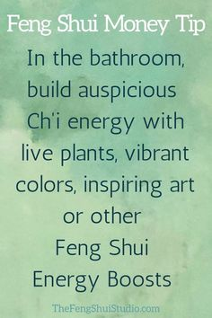 These Feng Shui tips explain how to enhance your bathroom to prevent energy drai.These Feng Shui tips explain how to enhance your bathroom to prevent energy drains and build vital Ch'i energy which can help Feng Shui Studio, Feng Shui House, Home Feng Shui, Feng Shui Basics, Feng Shui Tips, Feng Shui Wealth, Chi Energy, Good Energy, Feng Shui Quotes